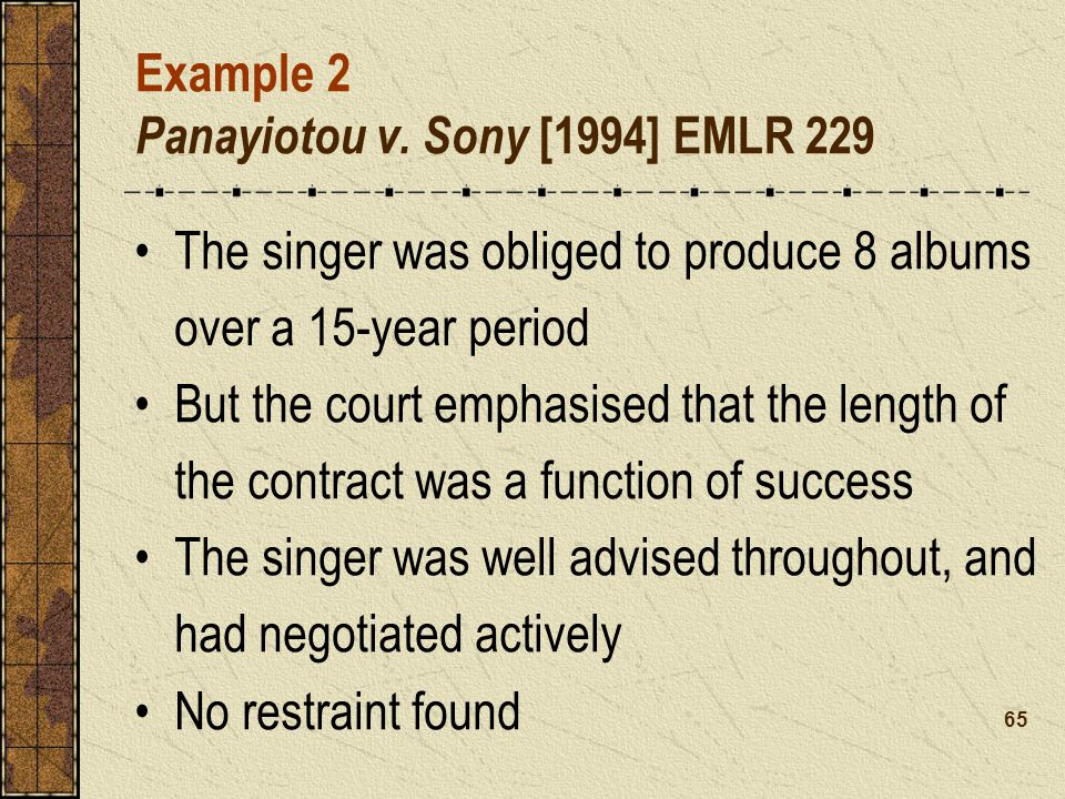Example 2 Panayiotou v. Sony [1994] EMLR 229